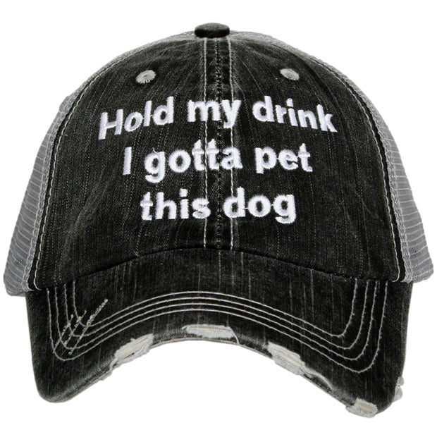 Hold My Drink I Gotta Pet This Dog Wholesale Trucker Hat 1