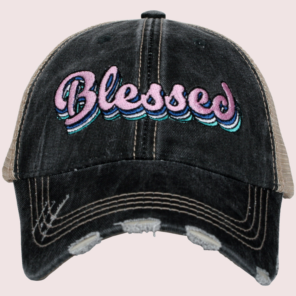 Katydid Blessed Wholesale Trucker Hats w/ Layered Font