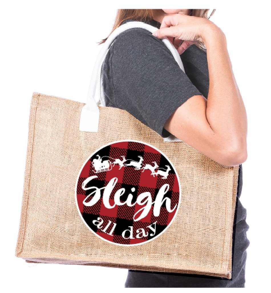 Sleigh All Day Red Plaid Wholesale Tote Bag