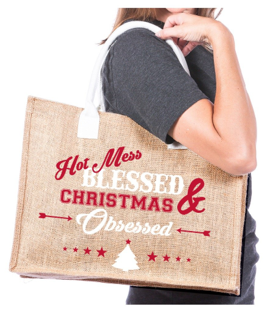 Hot Mess Blessed & Christmas Obsessed Wholesale Tote Bag