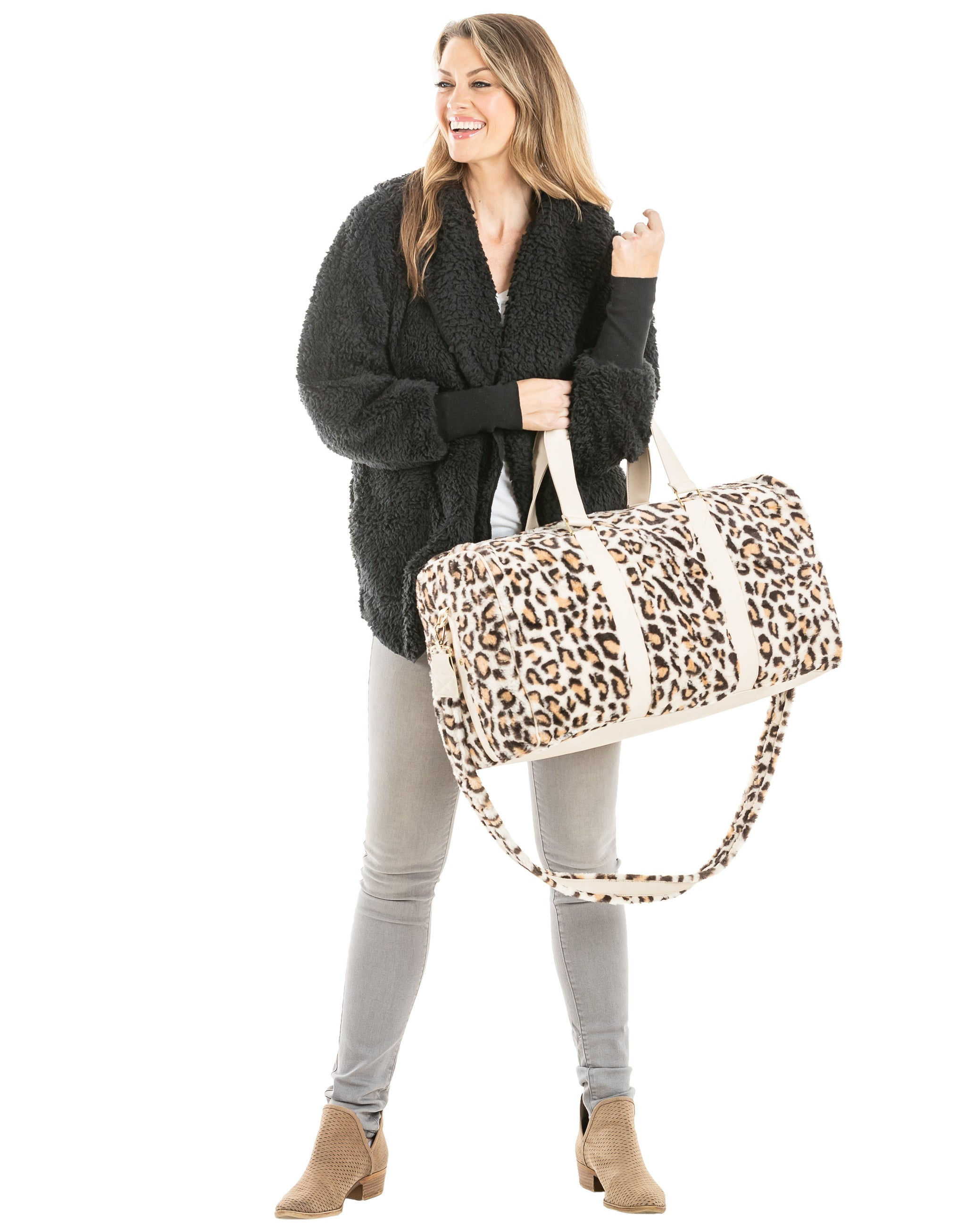Cream Leopard Faux Fur Wholesale Weekender Bags