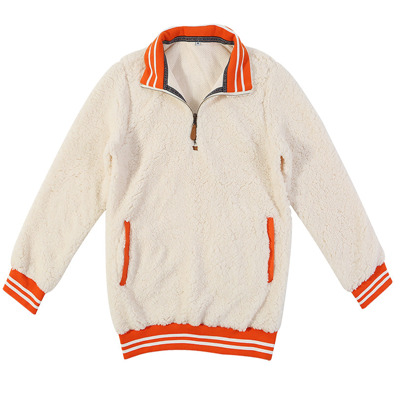 Cream Orange Vintage Sherpa Pullover