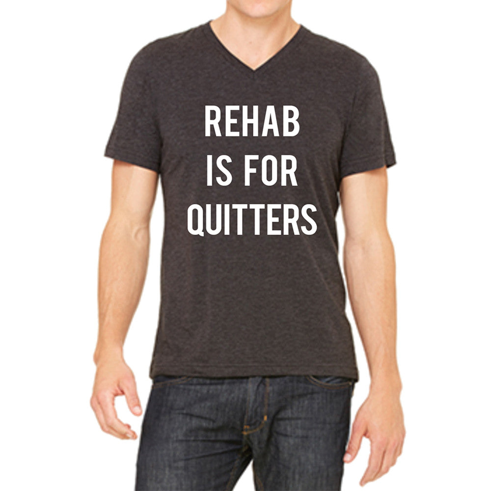 "OEM Society ""Rehab Is For Quitters"" Wholesale Men's V-Neck Short Sleeve T-Shirt"