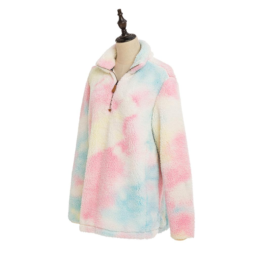 Tie Dye Faux Fur Wholesale Women's Sherpa Pullover (#1)