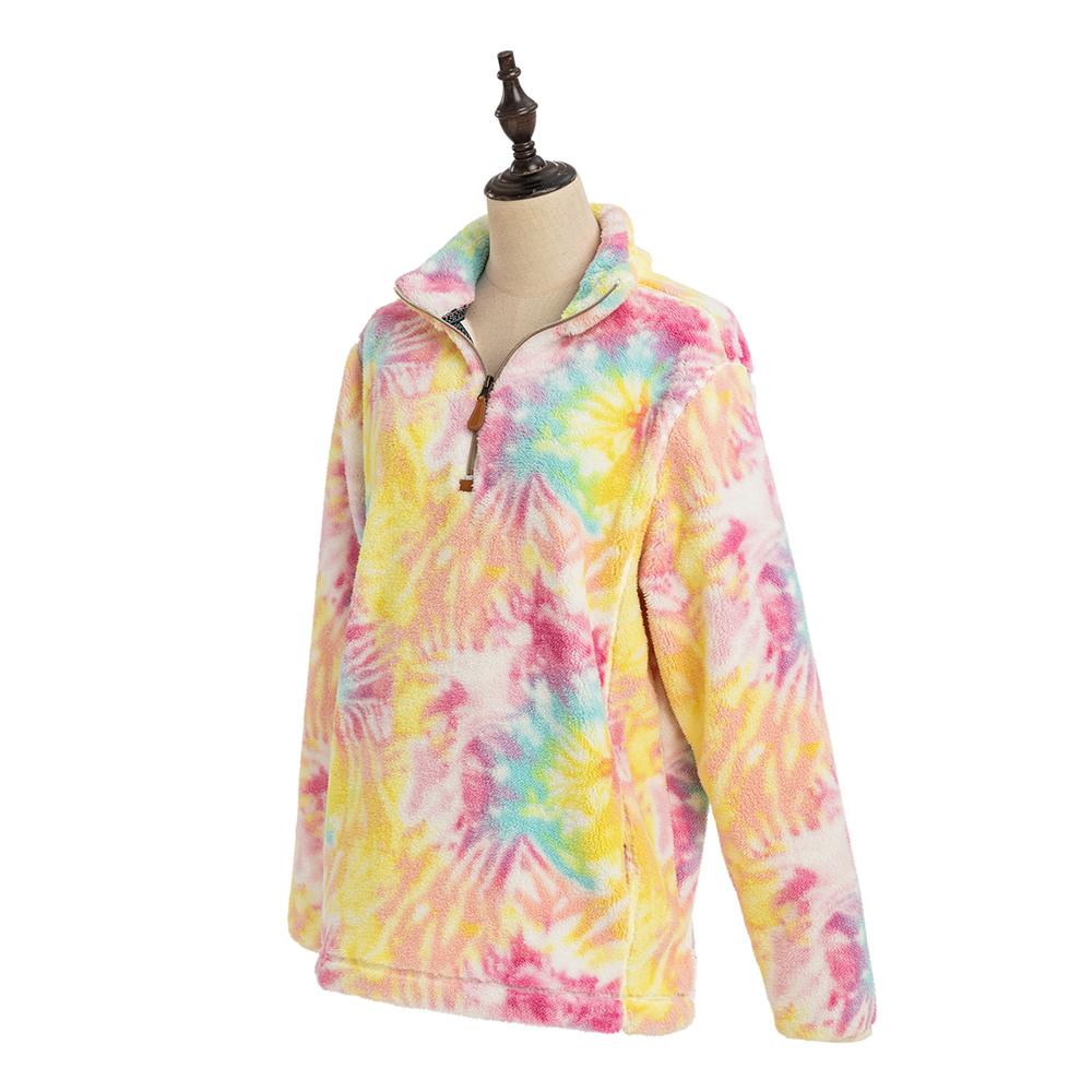 Tie Dye Faux Fur Wholesale Women's Sherpa Pullover (#2)