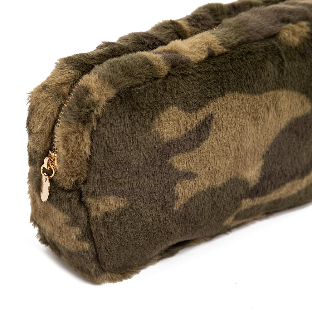 Camo Faux Fur Wholesale Makeup Bags