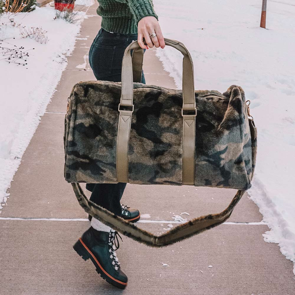 Camo Faux Fur Wholesale Weekender Bags