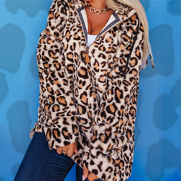 Leopard Wholesale Faux Fur Fleece Pullover with Hoodie