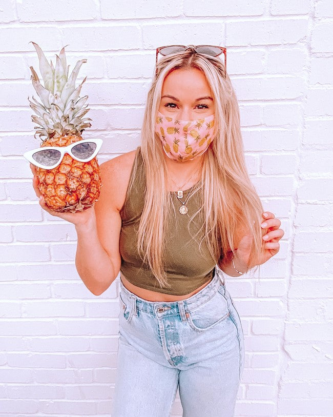 Pink/Yellow PINEAPPLE Fashion Wholesale Face Masks