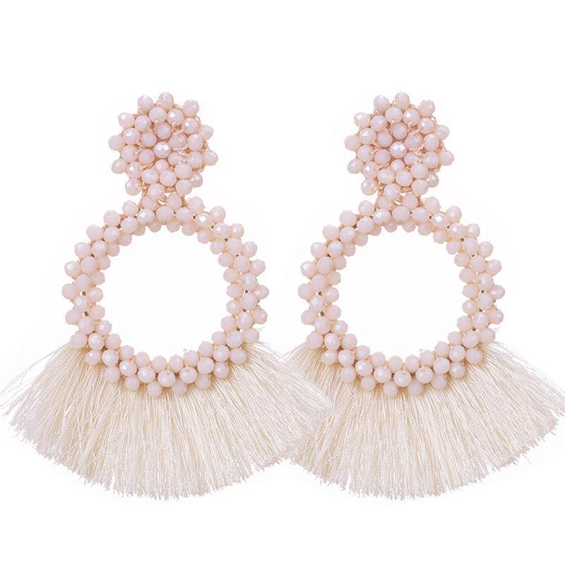 Cream Tassel and Glass Bead Wholesale Earrings
