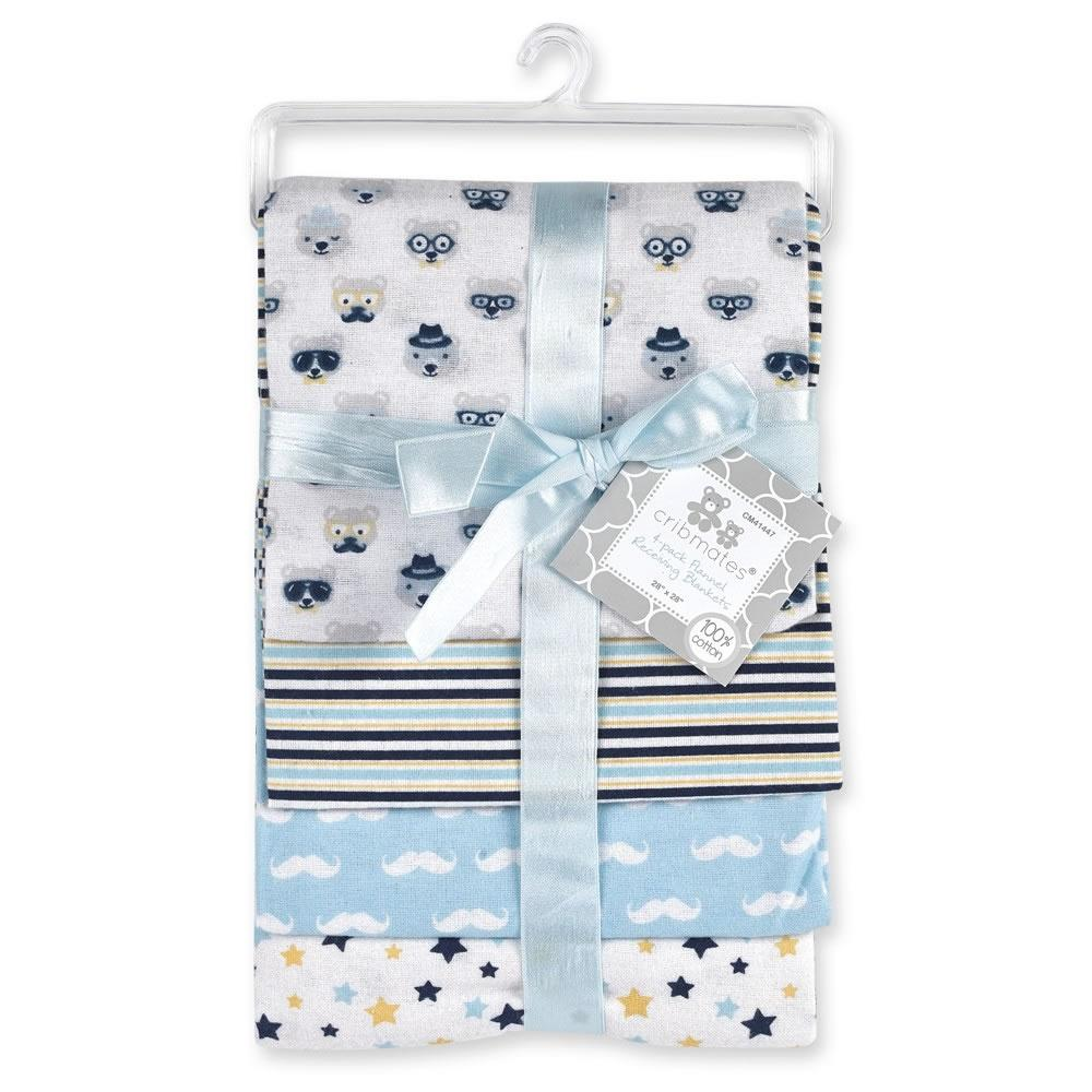 Cool Bear 4 Pk Flannel Blankets