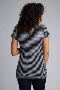 Black/White Crew Maternity Top