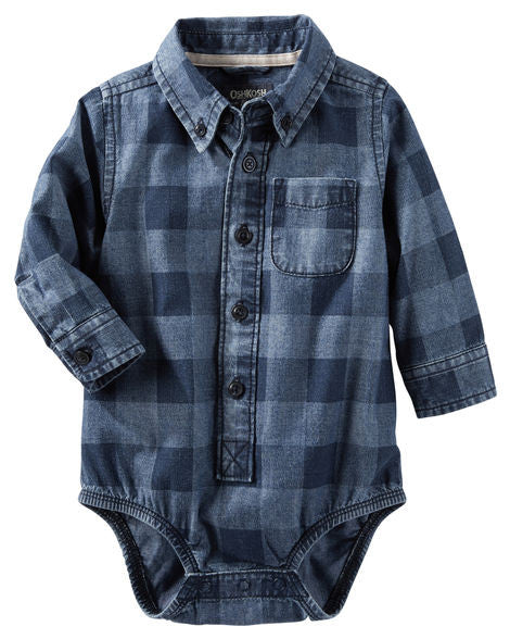 Checkered Chambray Bodysuit