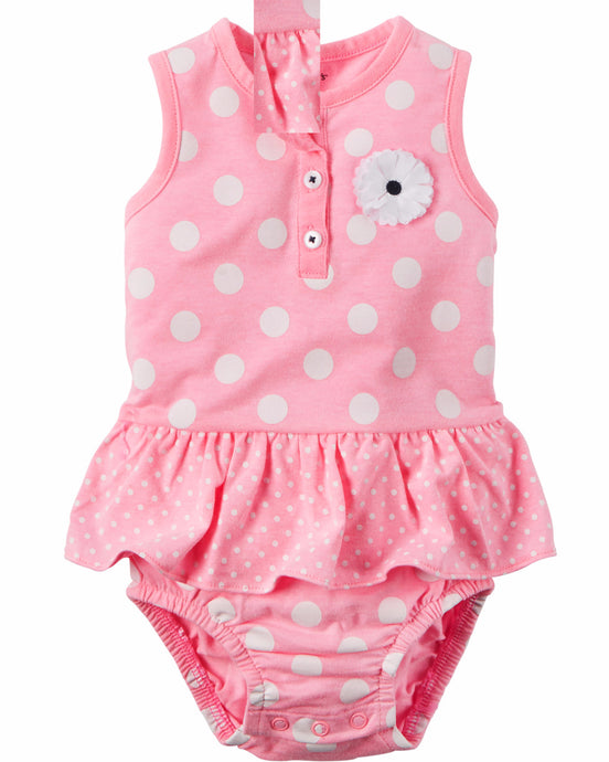 Pink Polka Dot Ruffle Sunsuit