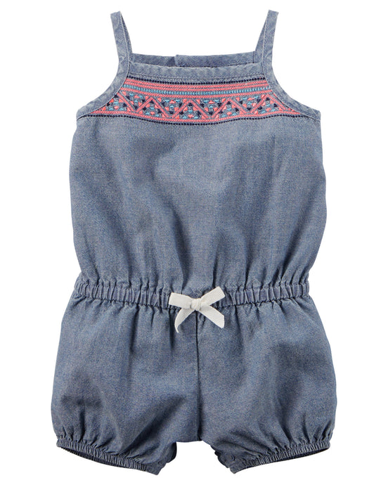 Embroidered Denim Romper