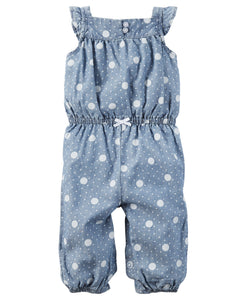 Polka Dot Denim Jumpsuit