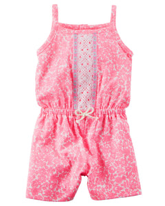 Pink Floral Embroidered Romper