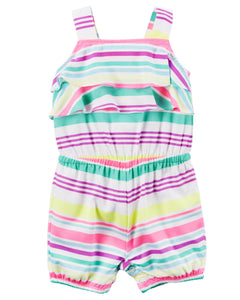 Frilled Neon Striped Romper