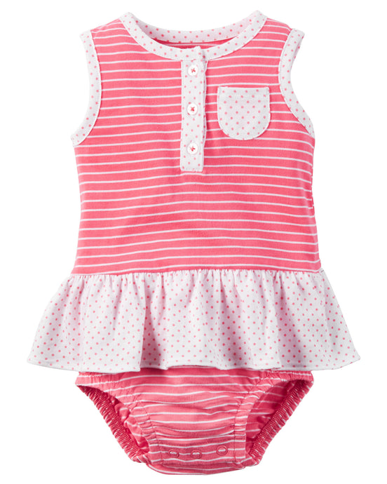 Pink Striped Sunsuit