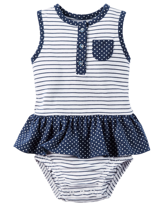 Navy Striped Sunsuit