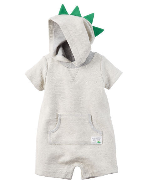 Dino Hooded French Terry Romper