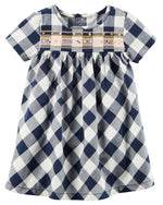 Load image into Gallery viewer, Navy Gingham Dress Set