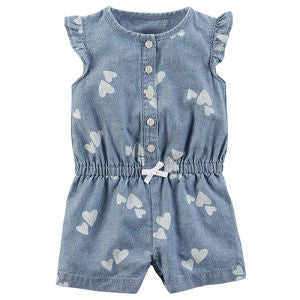 Hearts Over Chambray Romper