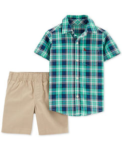 Green Plaid Khaki Toddler Set