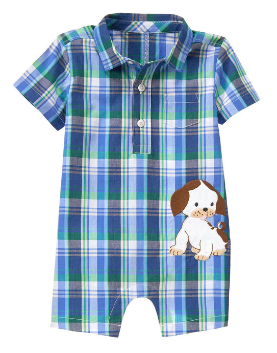 Plaid Puppy Romper