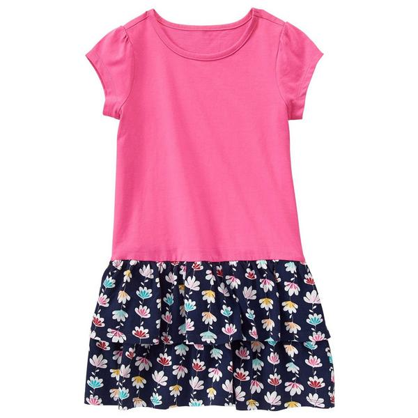 Pink on Floral Toddler Dress