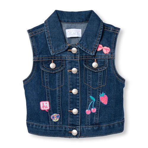Sleeveless Patch Denim Vest