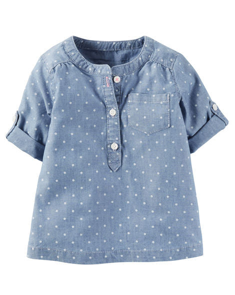 Polka Dot Denim Tunic