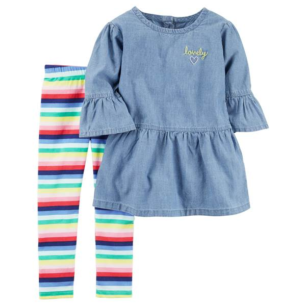 Lovely Chambray Rainbow Toddler Set