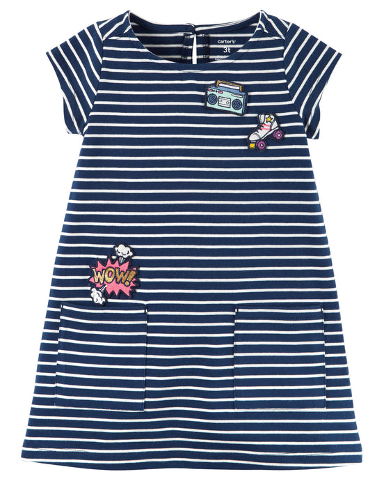 Striped Jersey Emblem Dress