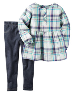 Purple Plaid 2-Piece Toddler Set