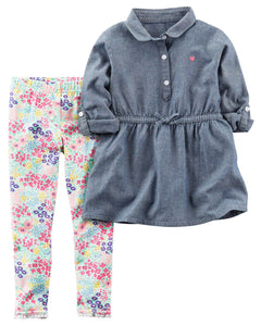 Dark Chambray Tunic Toddler Set
