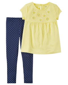 Yellow Flowers & Polka Dot Toddler Set