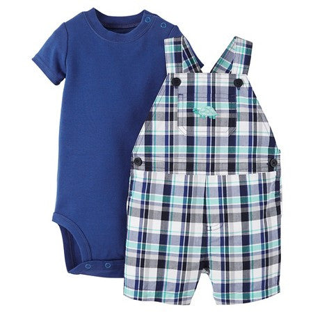 Turtle Plaid Overall 2-Piece Set