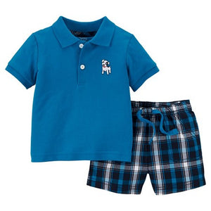 Blue Polo Plaid Set
