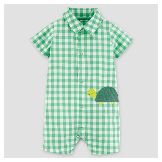 Green Gingham Turtle Romper