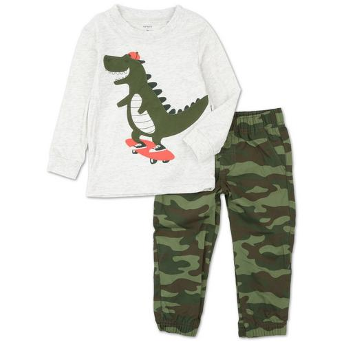 Skateboarding Dino Camo 2-Piece Toddler Set