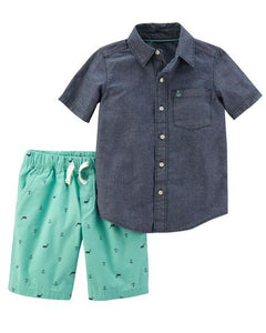 Anchors & Whales Denim Toddler Set