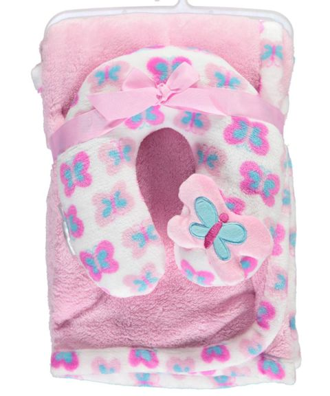 Pink Butterflies Blanket Set