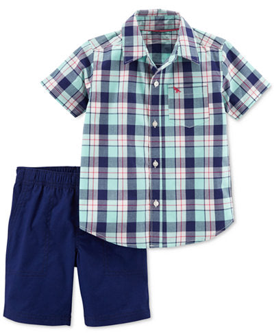 Mint Plaid Toddler Set