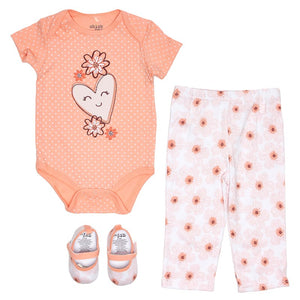 Peach Flower & Hearts Set