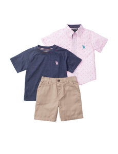 Pink Striped Speck 3-Piece Boys Set