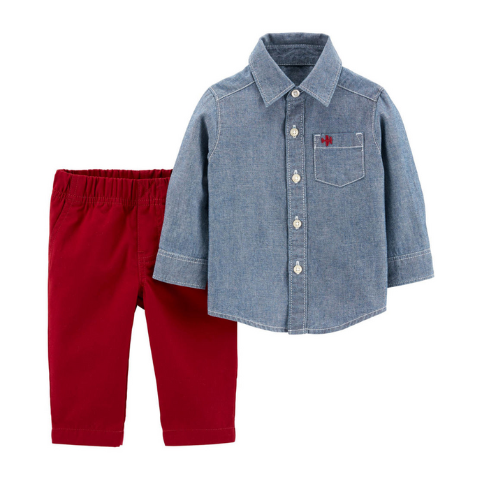 Crimson Denim 2-Piece Set