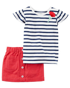 Striped Poppy Toddler Set