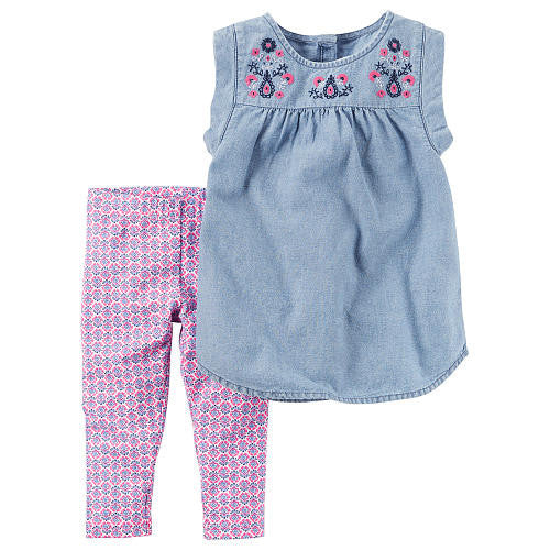 2-Piece Chambray Top & Leggings Set