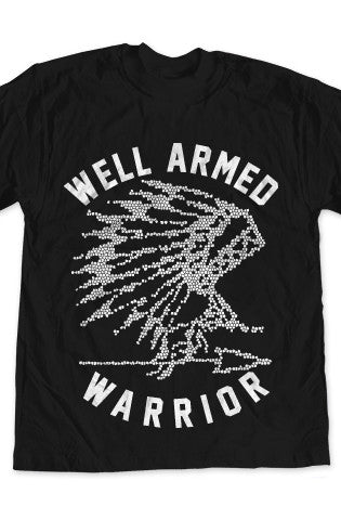 WARRIOR 1 White on Black T-Shirt